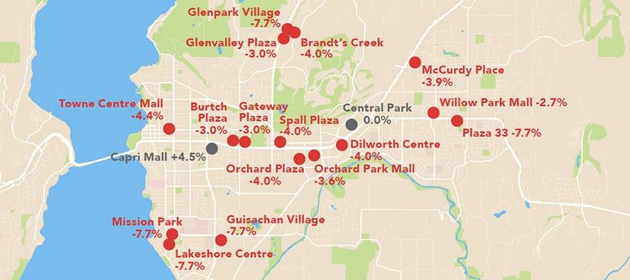 Kelowna Commercial Assessment Map - Major Retail